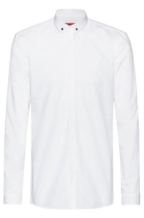 Extra Slim-Fit Hemd aus Baumwolle mit Metalldetails am Kragen, Weiß