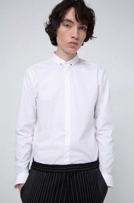 Extra slim-fit overhemd met hardware aan de kraag, Wit
