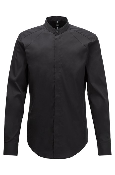 Slim-fit shirt with stand collar and dynamic cutlines, Black