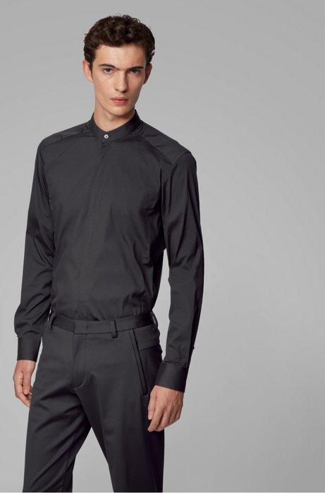 Slim-Fit Hemd mit Stehkragen und dynamischen Bahnen, Schwarz