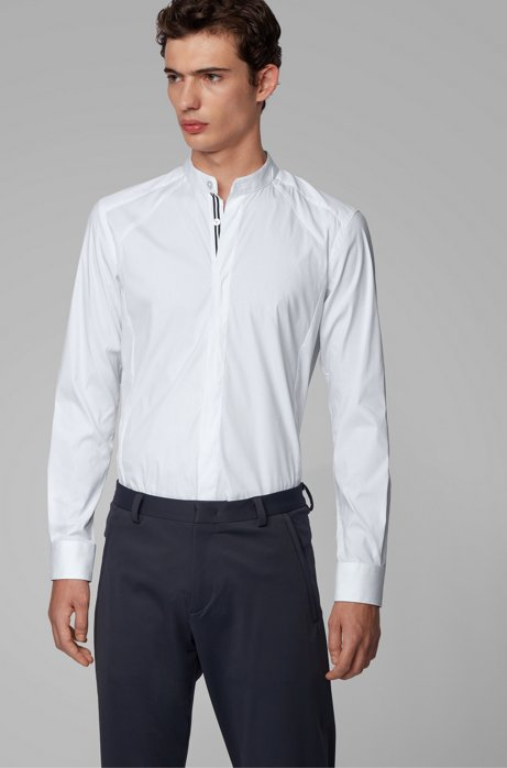 Slim-fit shirt with stand collar and dynamic cutlines, White