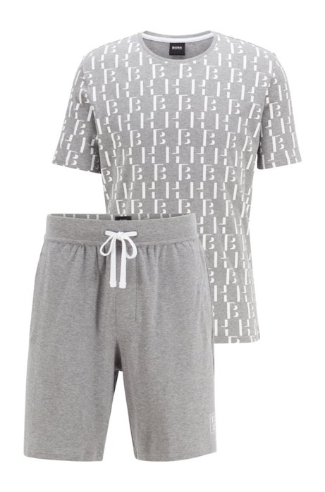 Pyjamaset van katoen met monogramprint in zak met tunnelkoord, Grijs