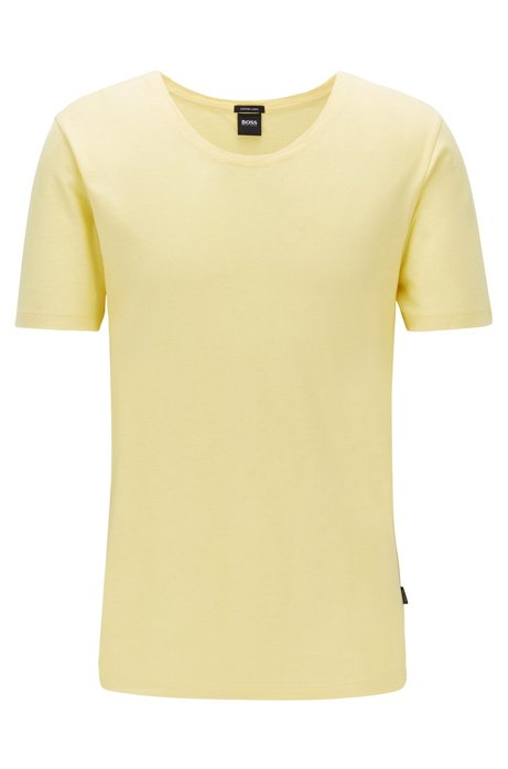 T-Shirt aus italienischer Baumwolle mit weitem Ausschnitt, Gelb