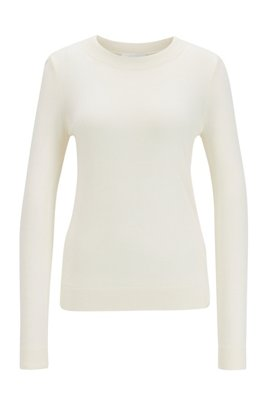 Regular-fit sweater in merino wool with crew neckline, White