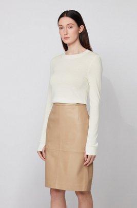 Regular-fit sweater in merino wool with crew neckline, White