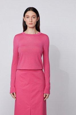 Regular-fit sweater in merino wool with crew neckline, Pink