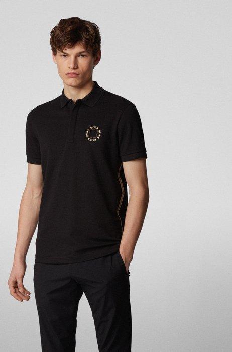 Polo van piqué met gelaagd metallic logo, Zwart