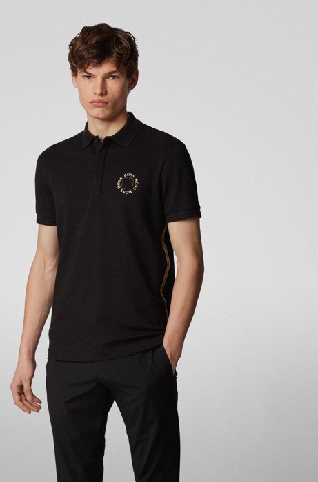 Piqué polo shirt with layered metallic logo, Black