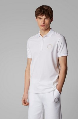 Piqué polo shirt with layered metallic logo, White