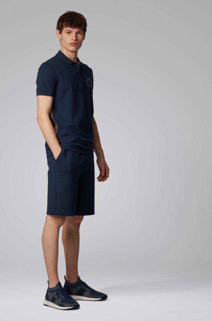 Piqué-Poloshirt aus Stretch-Baumwolle mit mehrlagigem Metallic-Logo