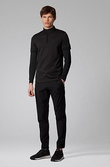 男士针织面料修身 Polo 衫,  001_黑色