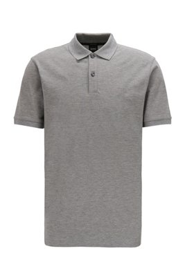 Regular-fit polo shirt in Pima-cotton piqué, Silver