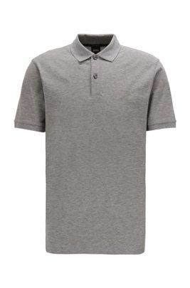 Regular-fit polo shirt in Pima-cotton piqué, Grey