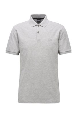 Polo Regular Fit en piqué de coton Pima, Gris chiné