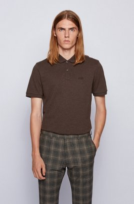 Regular-fit polo shirt in Pima-cotton piqué, Dark Brown