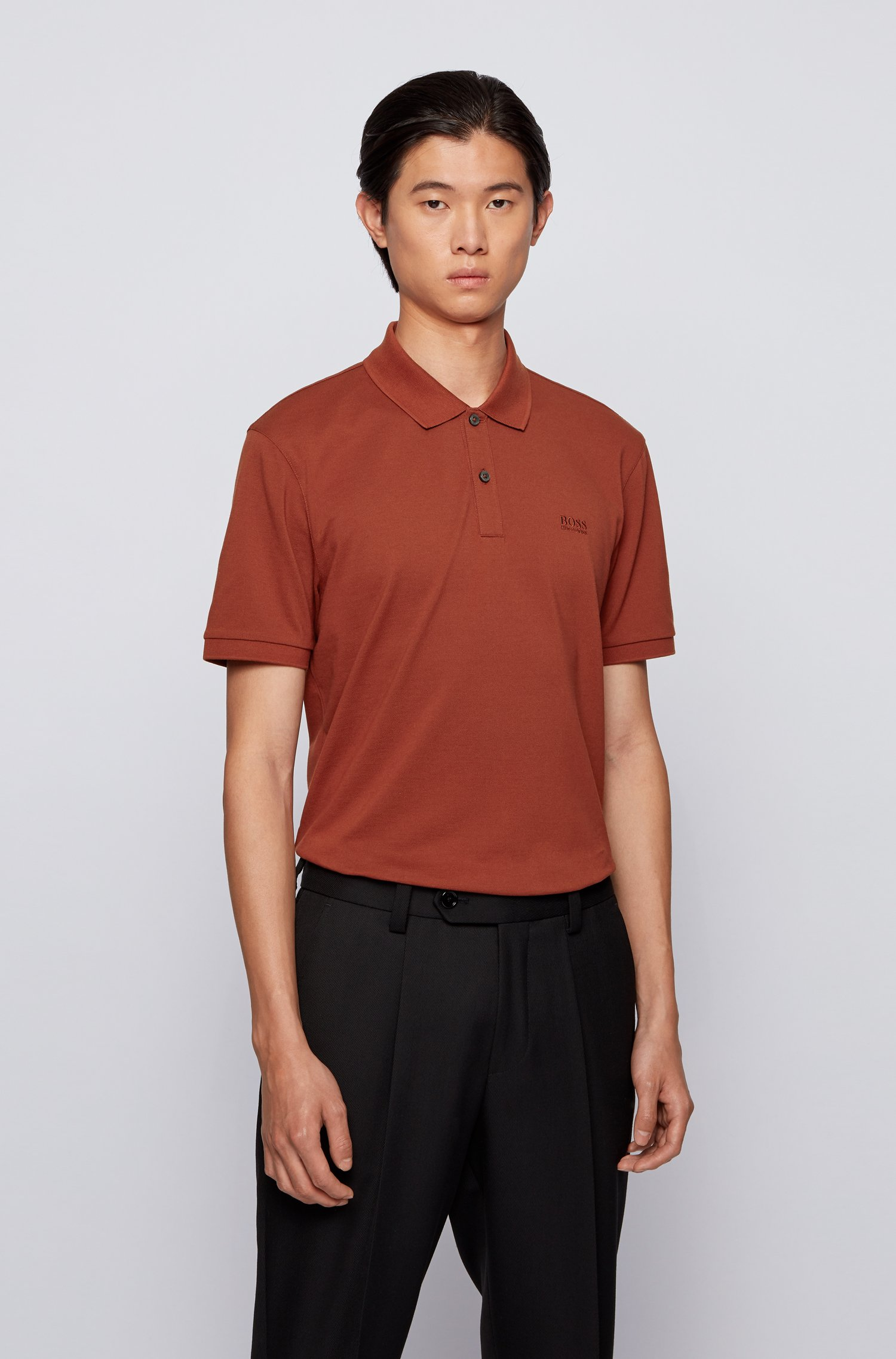 Poloshirt aus Pima-Baumwolle, Braun