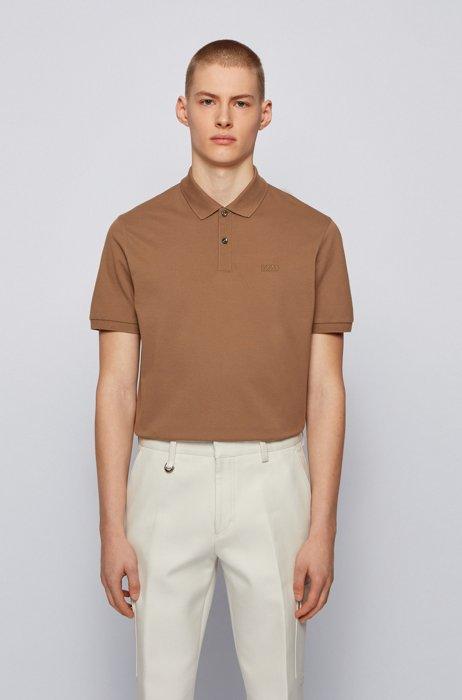 Regular-fit polo shirt in Pima-cotton piqué, Brown