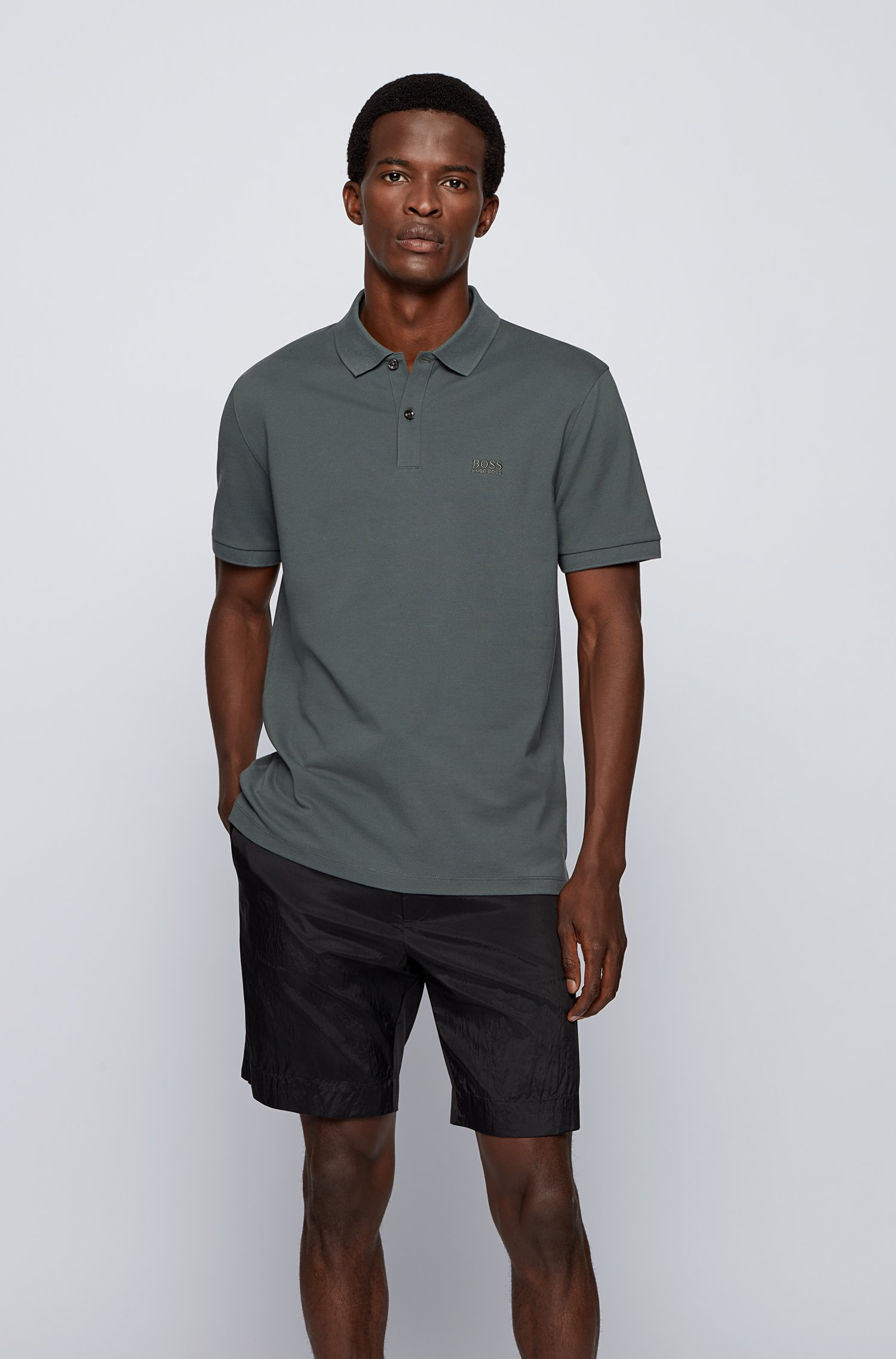 Regular-fit polo shirt in Pima-cotton piqué, Dark Green