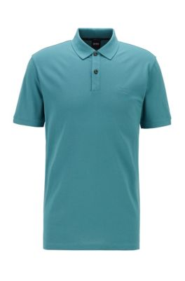 Polo Regular Fit en piqué de coton Pima, Vert