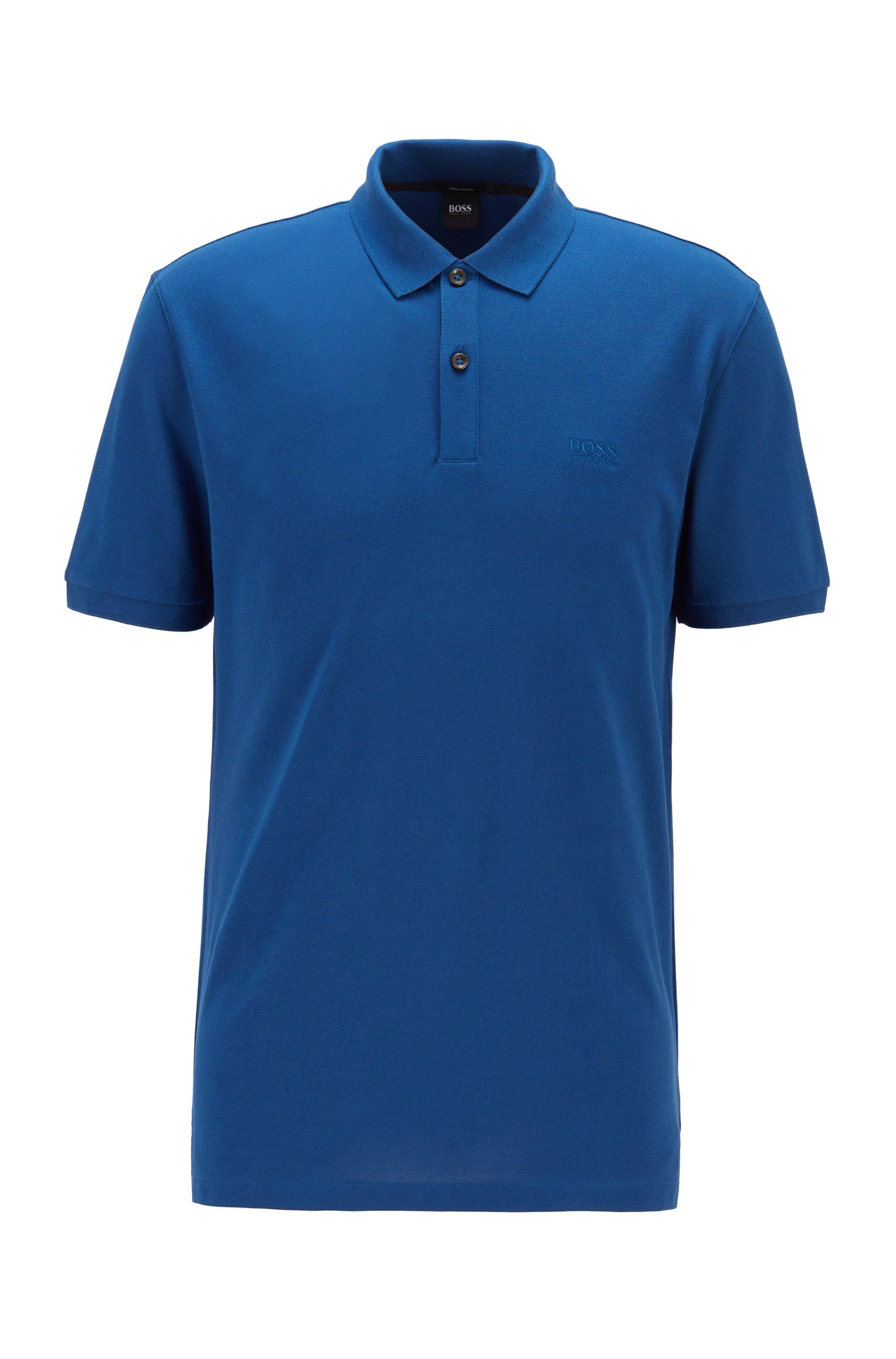 Polo regular fit en piqué de algodón Pima, Azul oscuro