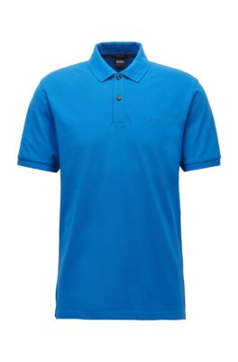 Regular-fit polo in piqué van pimakatoen, Blauw