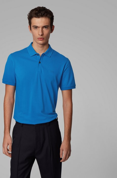 Polo Regular Fit en piqué de coton Pima, Bleu
