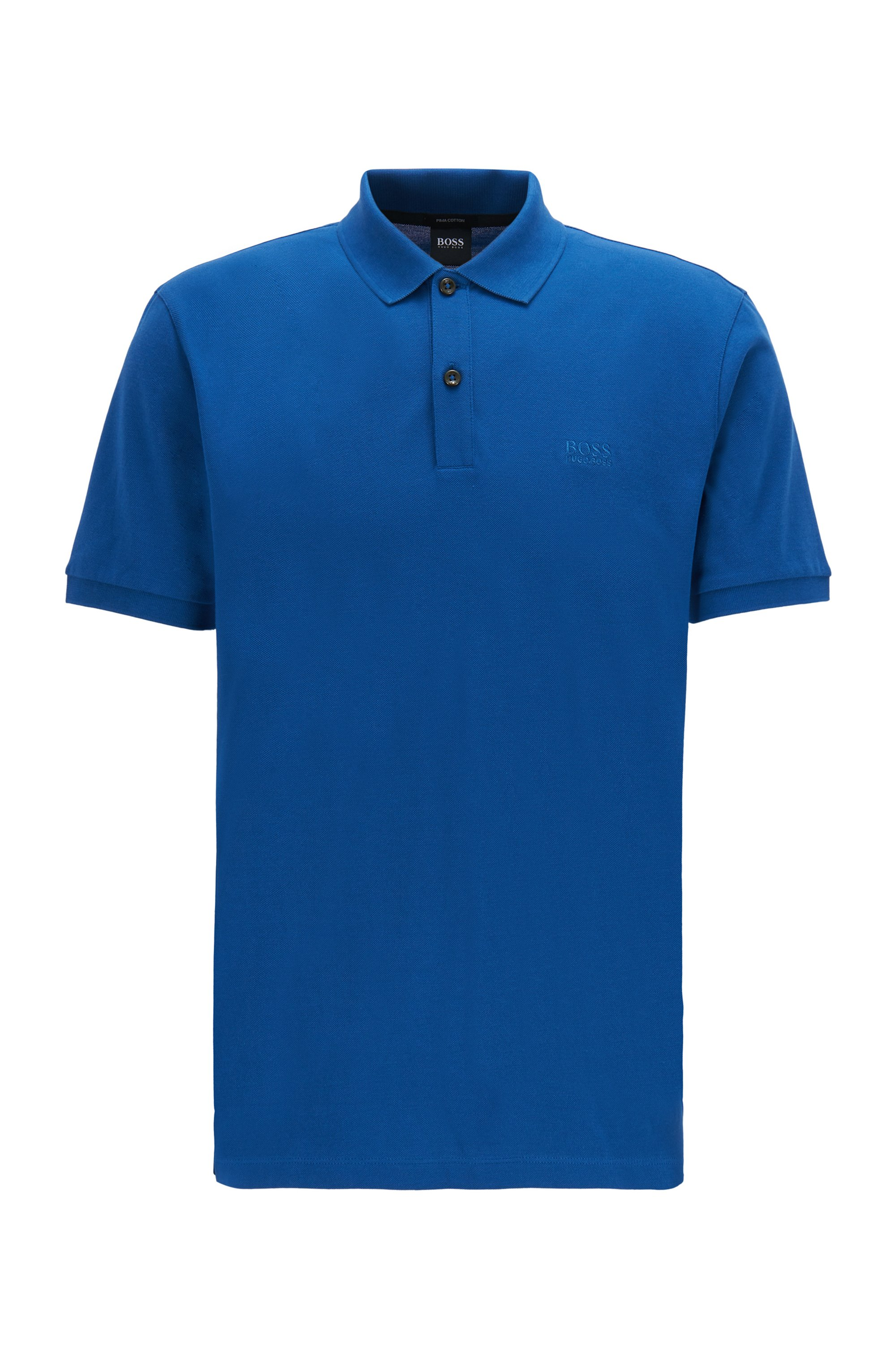 Polo regular fit en piqué de algodón Pima, Azul
