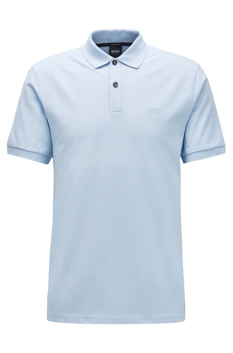 Polo regular fit en piqué de algodón Pima, Celeste