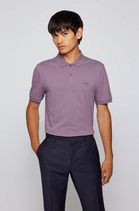 Polo regular fit en piqué de algodón Pima, Luz púrpura
