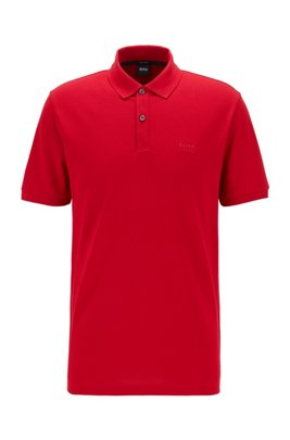 Polo Regular Fit en piqué de coton Pima, Rouge