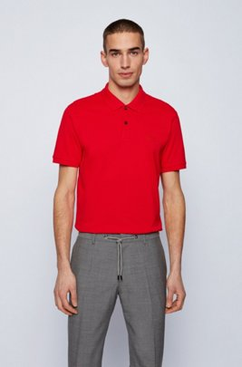 Regular-fit polo shirt in Pima-cotton piqué, Red