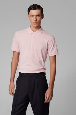 Polo regular fit in piqué di cotone Pima, Rosa chiaro