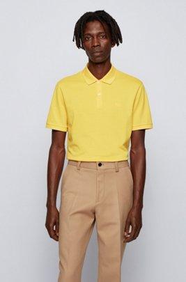 Regular-fit polo shirt in Pima-cotton piqué, Yellow