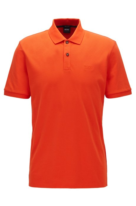 Polo regular fit en piqué de algodón Pima, Naranja