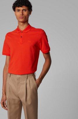 Polo regular fit in piqué di cotone Pima, Arancione