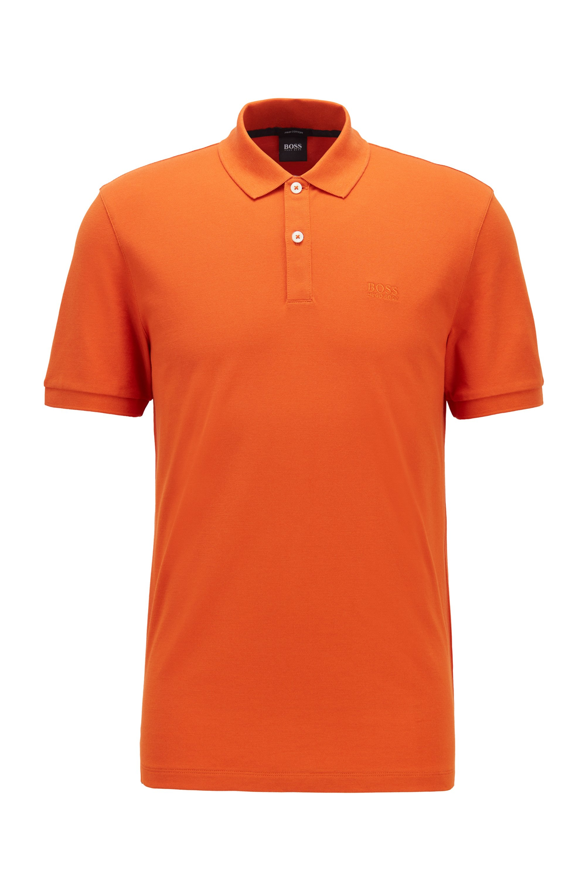 Regular-fit polo in piqué van pimakatoen, Oranje