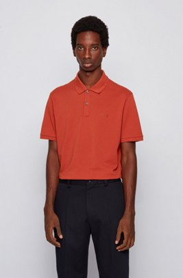 Regular-fit polo shirt in Pima-cotton piqué, Light Orange