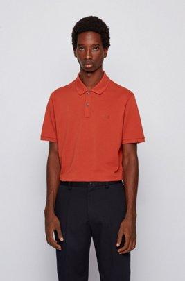 Polo regular fit in piqué di cotone Pima, Arancio chiaro