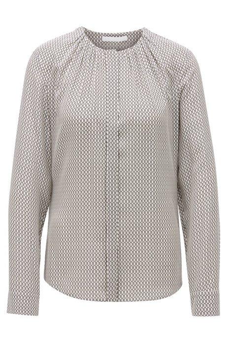 Regular-fit collarless blouse in monogram-print silk, Patterned