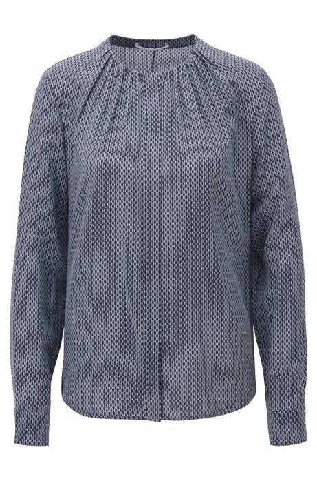Blusa regular fit sin cuello en seda con estampado de monograma, Fantasía