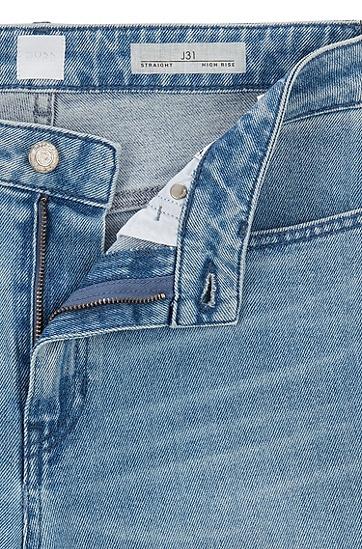 女士复古蓝弹性牛仔布九分牛仔裤,  430_亮蓝色