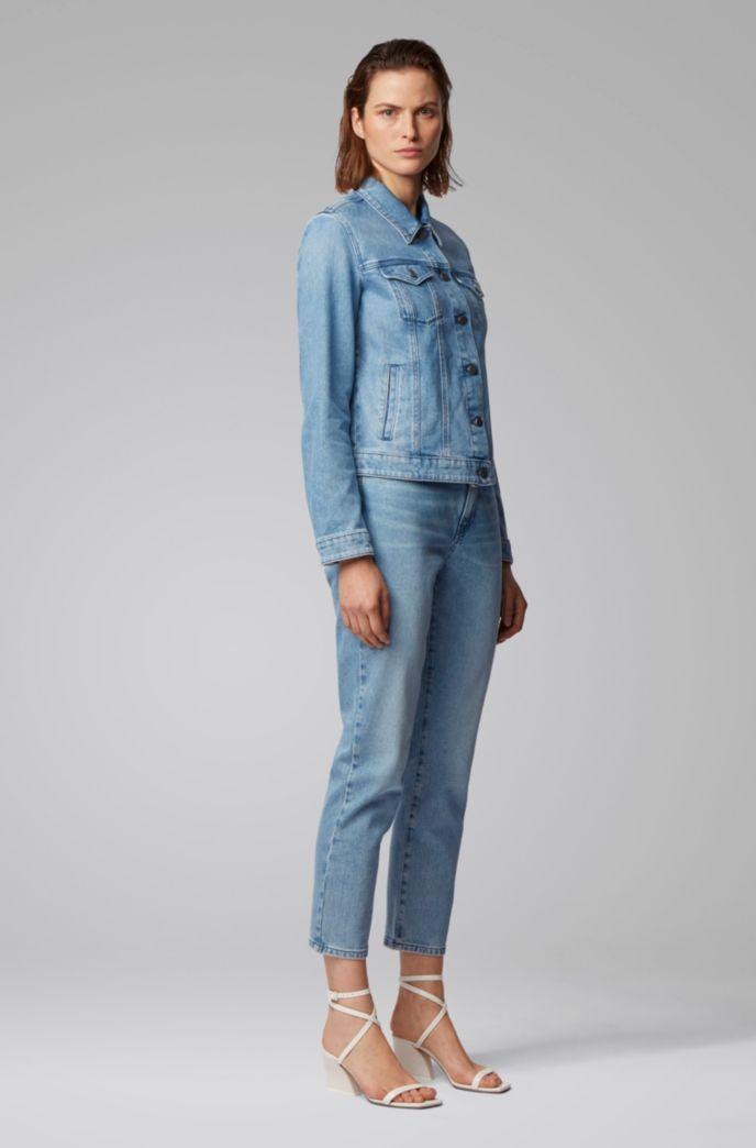 Jeans alla caviglia regular fit in denim elasticizzato blu vintage