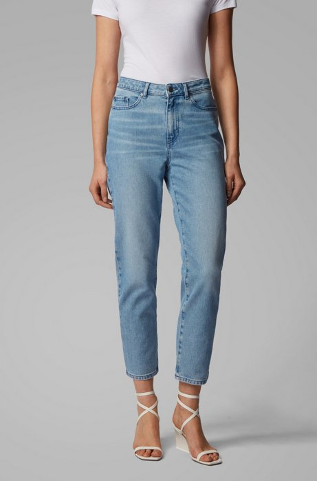 Jean court Regular Fit en denim stretch bleu vintage, Bleu