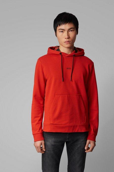 Sweatshirt aus Baumwoll-Mix mit bedrucktem Kapuzen-Innenfutter, Dunkelorange