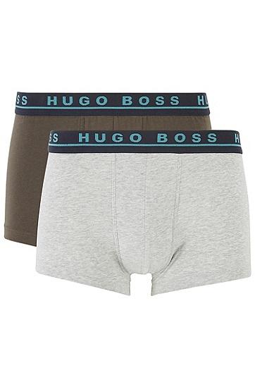 男士徽标裤腰弹力棉泳裤三件装,  962_多色