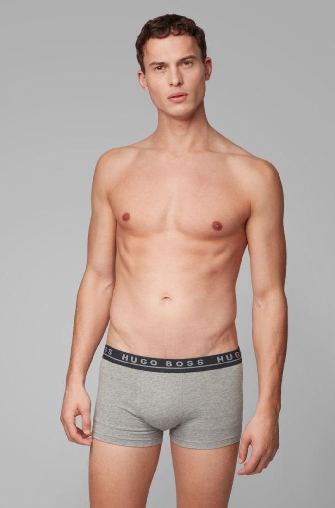 Lot de trois boxers courts en coton stretch, avec taille logo