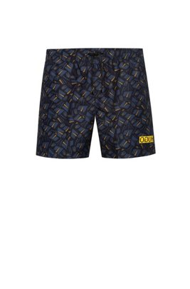 Quick-drying swim shorts with tulip print, Dark Blue