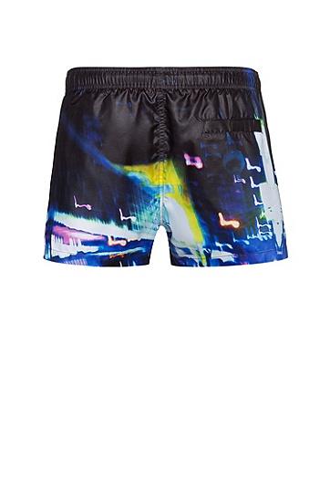 男士城市灯光速干游泳短裤,  001_黑色