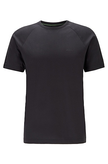 男士徽标压花珠地布条纹圆领 T 恤,  001_黑色