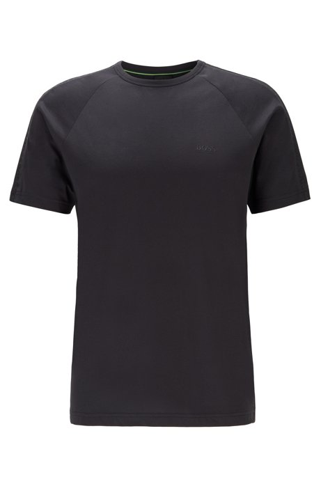 Crew-neck T-shirt with logo-embossed piqué stripes, Black